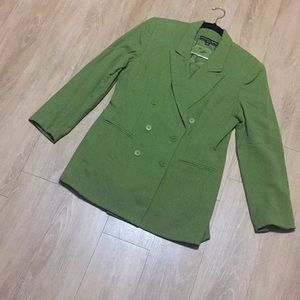 Green Double Breasted Skirt Suit